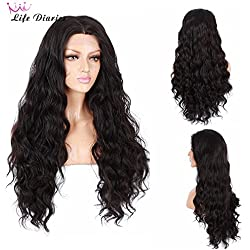 "Life Diaries 250nsity Glueless Synthetic Lace Front Wig Fashion Long Natural Wave 10%Human Hair+90%Heat Resistant Fiber Glueless Lace Front Synthetic Wig For Women (24"", Dark Brown)"