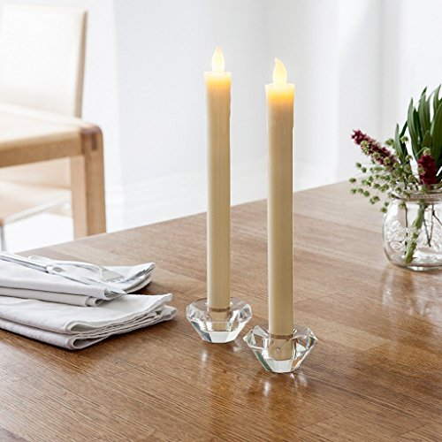 Lights4fun, Inc. Set of 8 Battery Operated Warm White LED Flameless Wax Taper Candles