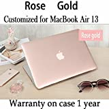 Twinscase Macbook Air 13 Inch Cases A1369/A1466 Glossy Transparent Covers,Ultra Thin Anti-scratch Dustproof Rubberized Macbook Case Shell Cover for Macbook Air 13 Inch A1369/A1466(Rose gold)