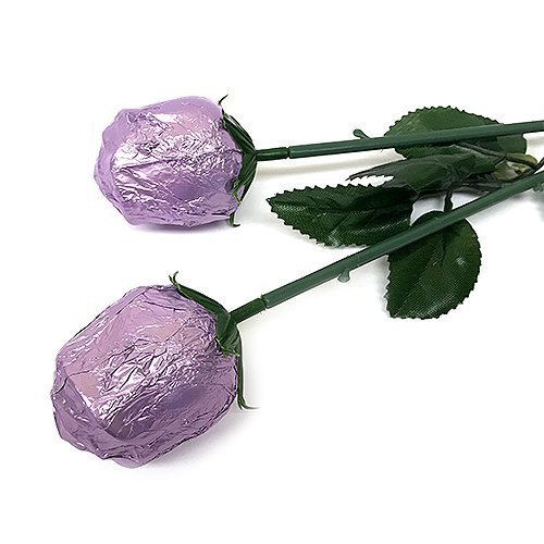 Valentine Gift Lavender Foiled Belgian Milk Chocolate Color Splash Long Stem Rose Bouquet - Pack of 20