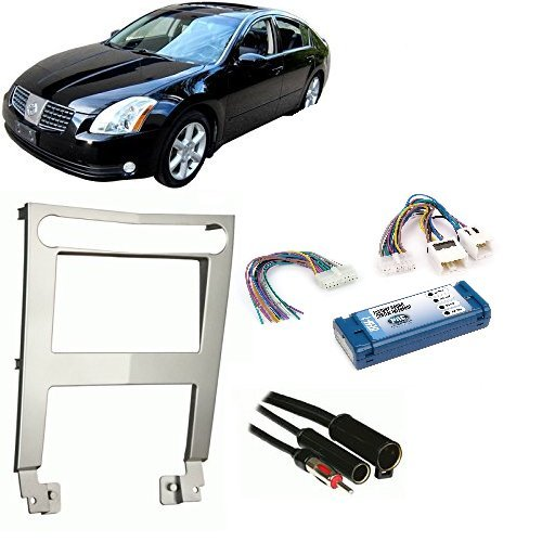 Car Radio Stereo Silver 2 Din Dash Kit Wire Harness for 2004