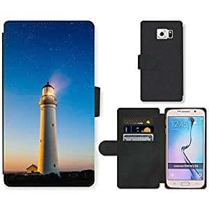 CARD POCKET BOOK CASE PU LEATHER CASE // M00421545 Agua Faro Shore Costa // Samsung Galaxy S6 (Not Fits S6 EDGE)