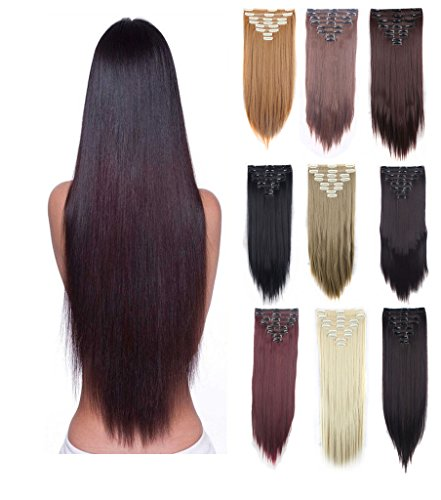 HOT Women Lady 3-5 Day Fast Delivery Double Weft Thick Full Head 8Peices 18 Clips Straight Wavy Hair Clip In Hair Extensions Hairpiece Girls 8pcs clip on Hairstyles