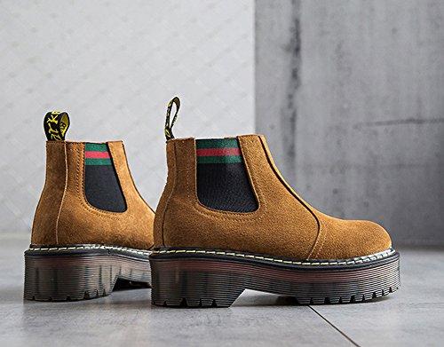 Aisun Damen Rund Zehen Plateau Stiefelette Boots Worker Boots Chelsea Stiefel Braun