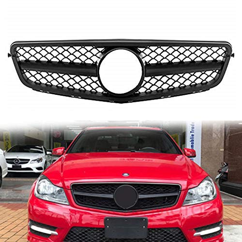 MOTORFANSCLUB W204 Grill Front Hood Bumper Grill Center ABS Grille AMG Style for Mercedes Benz C-Class C180 C200 C250 C260 C300 C350 2008-14 (Matte Black)