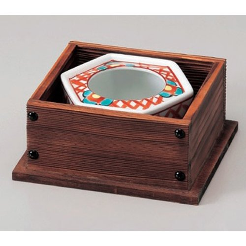 Ashtray utw682-22--23-714 [ashtray 4.8 x 2 inch box 6.5 x 6 x 3 inch] Japanece ceramic Red picture ten thousand-winning 4.0 ashtray with wooden frame tableware