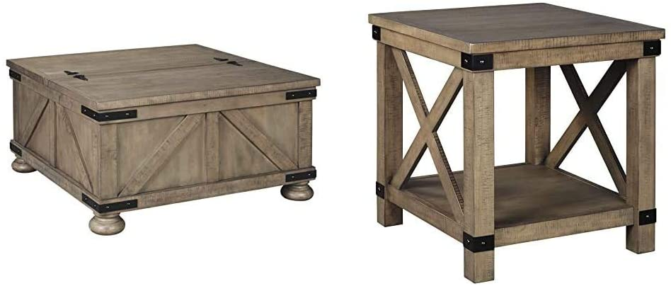 Signature Design by Ashley - Aldwin Farmhouse Storage Coffee Table, Brown Pine Wood & Aldwin Rectangular End Table, Pine Wood