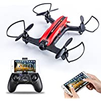 Flytec T18 Wifi FPV Drone with 720P Wide-Angle HD Camera Live Video RC Quadcopter with Headless Mode 3D Rolling RTF and Easy to Fly for Beginner, Compatible with VR Headset (Red)
