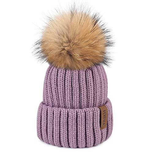 FURTALK Winter Knit Hat Real Raccoon Fur Pom Pom Womens Girls Knit Beanie Hat (Light Purple)
