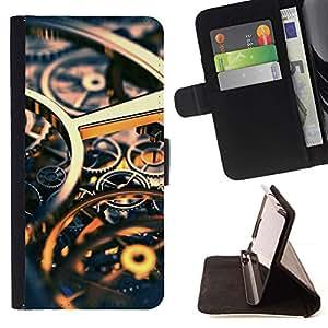 Momo Phone Case / Flip Funda de Cuero Case Cover - Ingeniería Reloj Tiempo Oro Engranajes - Samsung Galaxy S5 V SM-G900