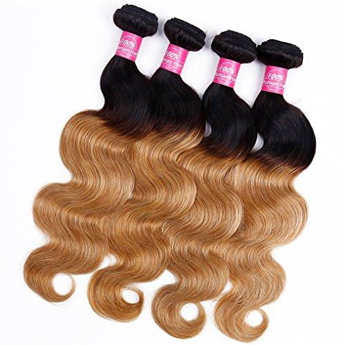 Grace Length Hair 8A Ombre Brazilian Body Wave Hair Weave 4 Bundles 16 18 20 22 400g Virgin Body Wave Remy Human Hair Weave 1B 27 Ombre 2 Tone Color - Human Ombre Hair Weave