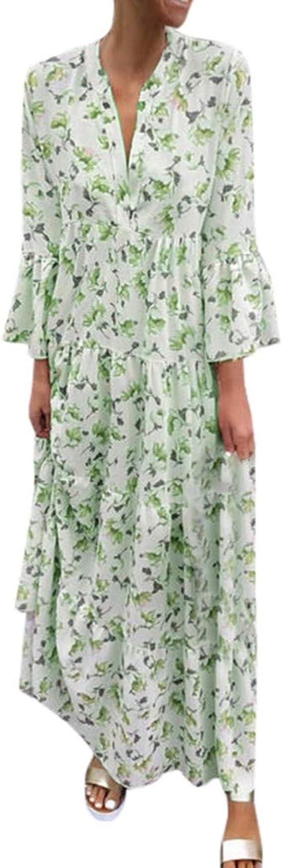 LUGOW Maxikleid Strandkleid Damen Sommerkleider Günstig Bohemian