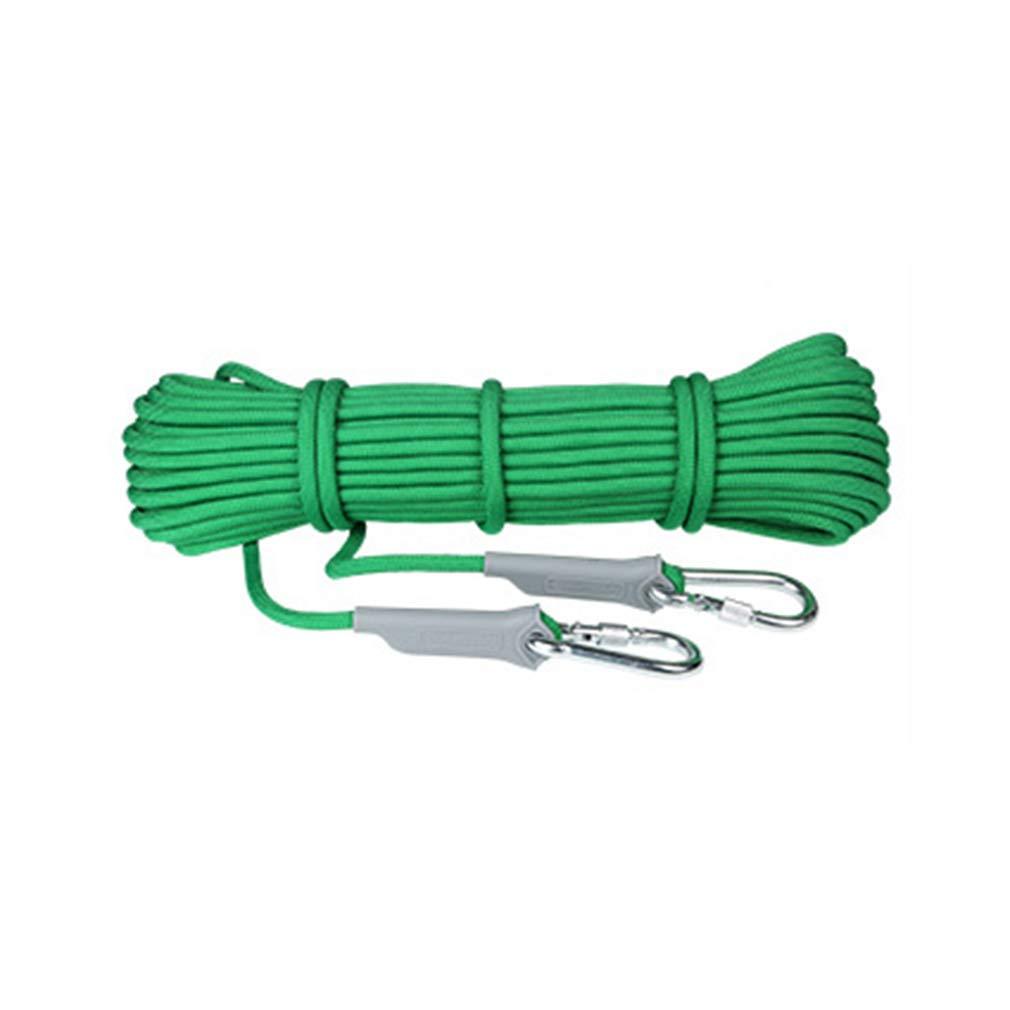 D MU Corde auxiliaire d'escalade de sécurité résistante à l'usure, Corde Statique extérieure en Nylon de 9,5 mm de différentes Tailles pour la Corde de randonnée de Survie en Auto-Sauvetage 40m