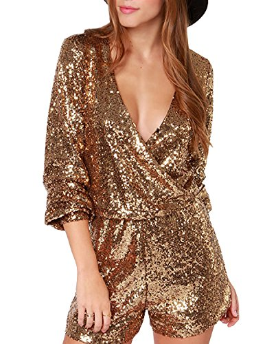 HaoDuoYi Womens Sequin V Neck Wrap Tunic Party Jumpsuit Romper(L,Gold)