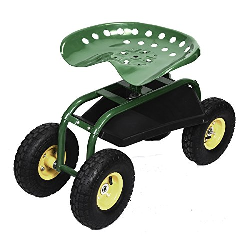 MD Group Garden Cart Utiltity Wagon Green Heavy Duty Tool Tray Adjustable Height Weather Resistant by MD Group