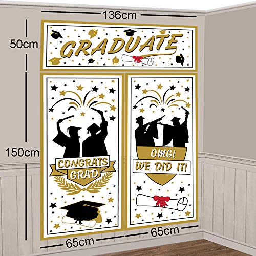 Graduation Backdrop Banner Party Decorations Supplies 2019 - High School College Congrats Grad Photo Booth Wall Party Decor - Graduation Scene Setter