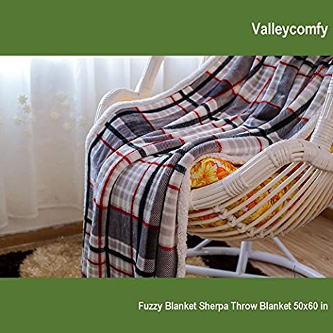 Throw Blanket All Season Reversible Blanket for Bed/Sofa/Couch (Gray Plaid, 50x60) - Plaid Electric Blanket