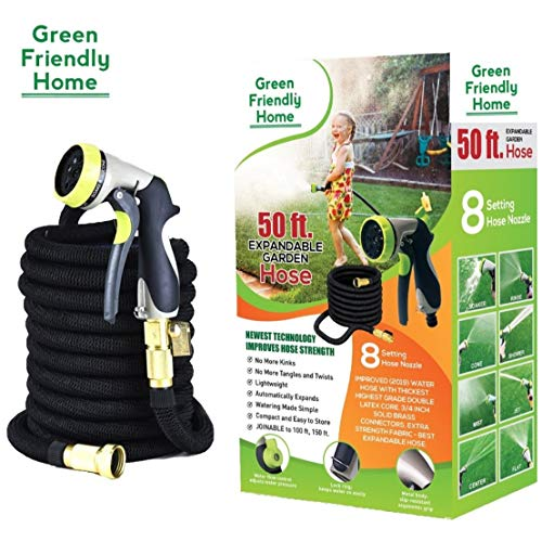 GreenFriendlyHome 2019 50ft Expandable Garden Hose, Flexible Expanding Water Hose, Strongest Double Latex Core and Fabric, Solid Brass Fittings, Metal Nozzle, Best Portable Compact Retractable ()