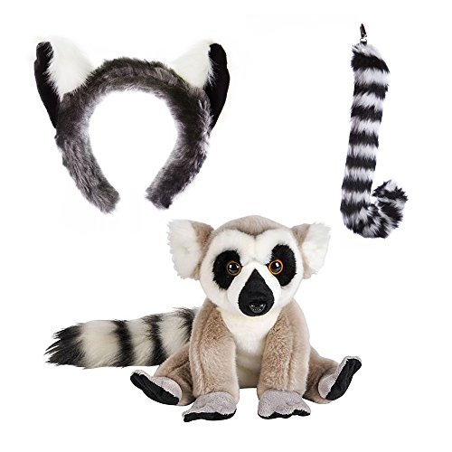 Wildlife Tree Stuffed Plush Ring-Tailed Lemur Ears Headband and Tail Set with Baby Plush Toy Lemur Bundle for Pretend Play Animals (Cotton Ball Sheep Costume)
