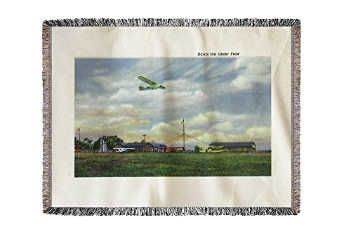 Lantern Press Elmira, New York - View of Harris Hill Glider Field, Glider in Flight 18522 (60x80 Woven Chenille Yarn Blanket) - Hill Chenille Blanket