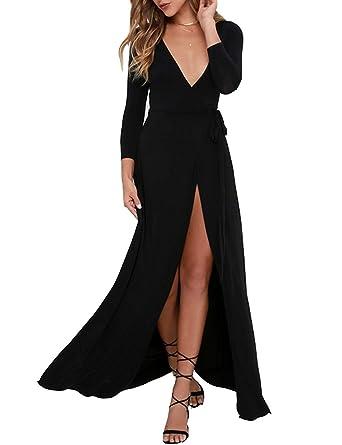 83a8f20e471 DLDY Women V-Neck Maxi Dress Split Beach Flowy Party Dresses with Belt ( Small