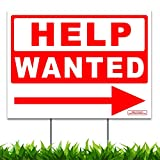 "Large 24"" x 18"" Help Wanted Directional Arrow Yard Sign Lawn Signage for Office or Retail Store"