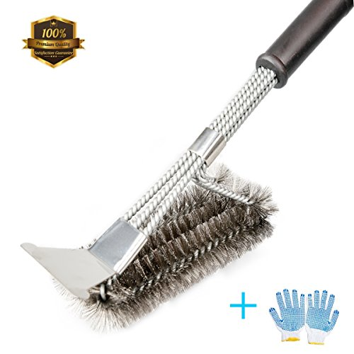 Grill Brush, ZOUTOG 3 in 1 Stainless Steel 18'' Bristles Grill Brush and Scraper with BBQ Cooking Glove for Weber Gas/Charcoal Grilling Grates by ZOUTOG