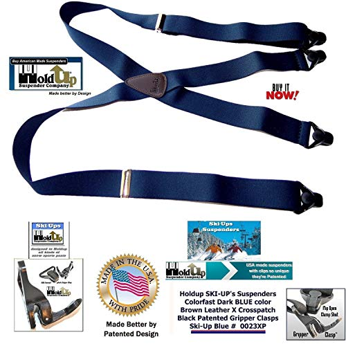 4ef08ade022 Holdup Suspenders in Navy Blue X-back Snow Ski Suspenders with Patented  Gripper Clasps in 1 1/2