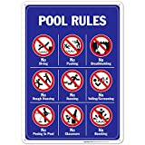 Pool Signs - Pool Rules Sign With Graphics- Large 10 X 14 Aluminum, For Indoor or Outdoor Use