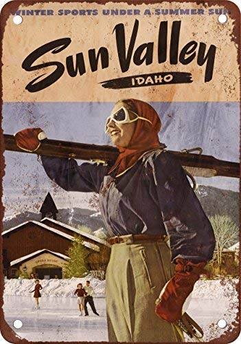 (FemiaD Ski Sun Valley Metal Sign Garage Signs for Men Home Decor Tin Art Decor 8X12 Inches)