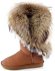 APHNUS Womens Mid Calf Boots Cow Leather Fur Snow Boots