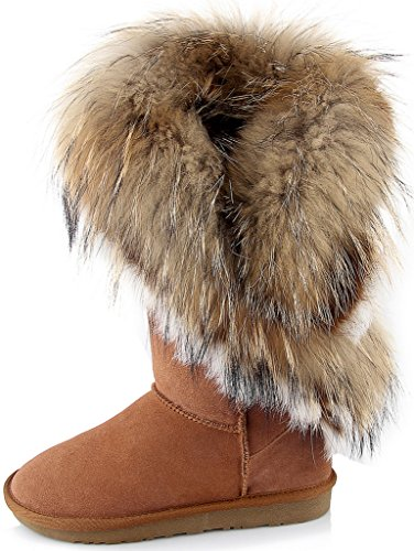 (APHNUS Womens Mid Calf Boots Cow Leather Fur Snow Boots Brown US10)