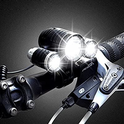 BenRan 5000 Lumen 3 LED Waterproof Bicycle Headlight Headlamp Rechargeable Bike Light Flashlight Lamp with 3 Xm-l T6 4 Modes Outdoor Sports Hiking Camping Hunting (Super bright)