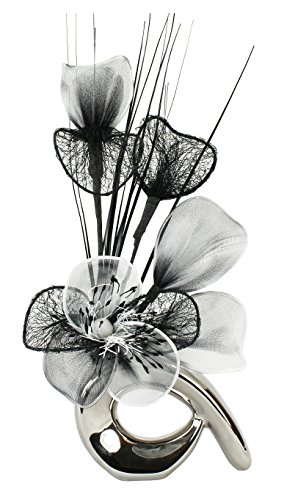 Flourish 798543 QH1 Silver Vase with Black and White Nylon Artificial Flowers in Vase, Fake Flowers, Ornaments, Small Gift, Home Accessories, 32cm by Flourish (Fake Silver Flowers)