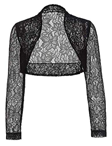 - Women Long Sleeve Lace Open Front Cropped Sweater Shrugs for Dresses(Black,XL)