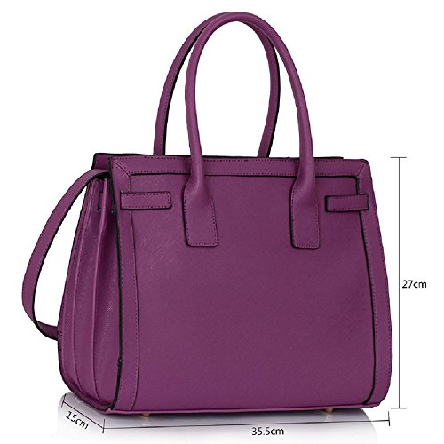 LEESUN LONDON - Bolsa mujer, color negro, talla Large CC - Purple