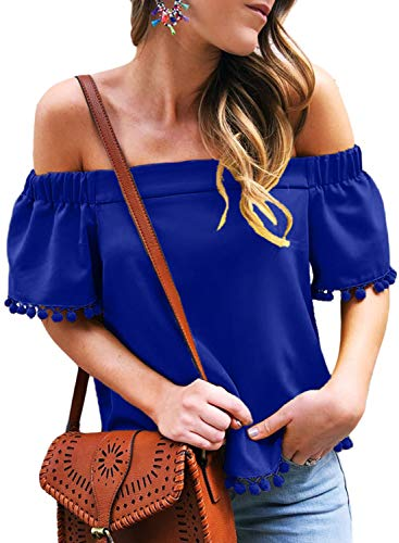 Summer Tassel - AlvaQ Women Short Sleeve Shirts Plus Size Summer Pop Pop Trim Tassel Off Shoulder Blouse Tops Blue 2X