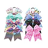 8pcs 8 inch Large Colorful Heart Cheer Hair Bows Ponytail Holder Elastic Hair Ties for Girls