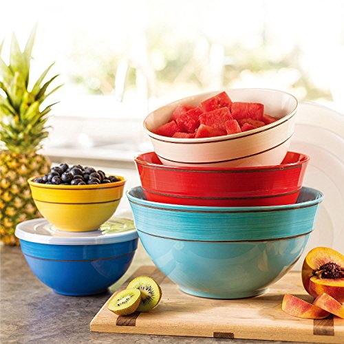 Melamine 10-Piece Mixing Bowl Set - Solid Colors ()