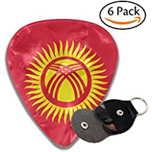 Yongchuang Feng Flag Of Kyrgyzstan 351 Shape Classic Medium Celluloid Guitar Picks Bass Musical Instruments Plectrums 6-Pack