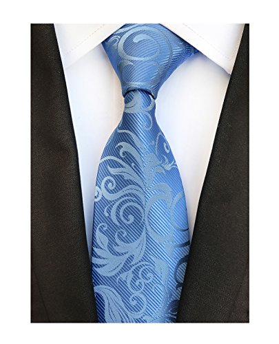 Silk Blue Tonal Tie (Men's Light Sky Blue Woven Silk Tie Best Business Evening Necktie Special Events)