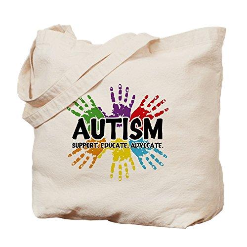 CafePress - Autism - Natural Canvas Tote Bag, Cloth Shopping Bag (Style Ribbon Puzzle Awareness)