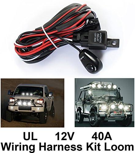 Lembeauty Universal Auto Nebelscheinwerfer Kabelbaum Für Led Arbeiten Fahrlicht Mit Sicherung Und Relaisschalter 12 V 40 A Auto