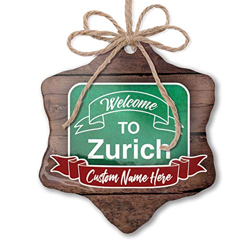NEONBLOND Custom Family Ornament Green Sign Welcome to Zurich Personalized Name