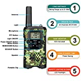 Kids Walkie Talkies with Vox-Hands Free, Westayin Range Up to 4 Mile Long Range Walkie Talkies, 22 Channels with Crystal Sound, Walkie Talkies for Adults, 2 Pack (Green Camo)
