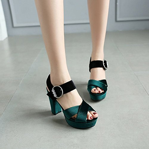 Charm Foot Womens Faux Suede Platform Block High Heels Dress Sandals Teal Green 9uTCFGO6Dx