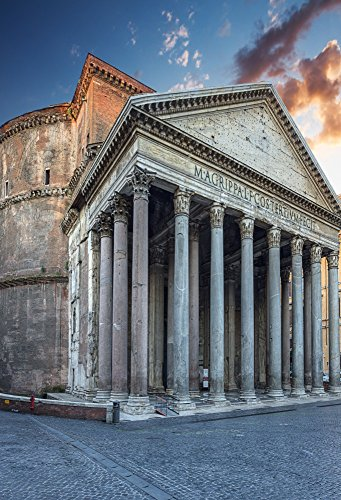 AOFOTO 3x5ft Pantheon in Rome Backdrops European Ancient Architectural Photo Shoot Background Italy Buildings Travel Photography Studio Props Video Drop Girl Kid Artistic Portrait - Architectural Silver Outdoor Wall