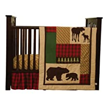 Cozy Cabin Nature Animals Nursery Crib Bedding Set with Moose & Bear with Quilt,Crib Skirt,Valance,Sheet,Storage Caddy, Gender Neutral for Baby Girl or Boy by Trend Labs
