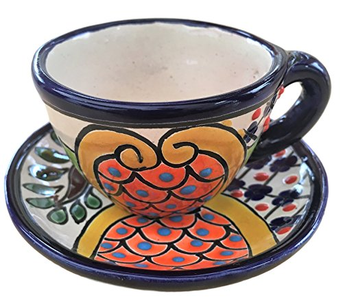 Talavera Espresso Plate Set - Ceramic Floral Cup and Saucer - 2 oz - Made in Mexico - Multicolor
