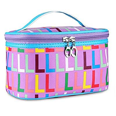 f029017efc HOYOFO Portable Travel Makeup Bag Cosmetic Organizer Case with Mirror